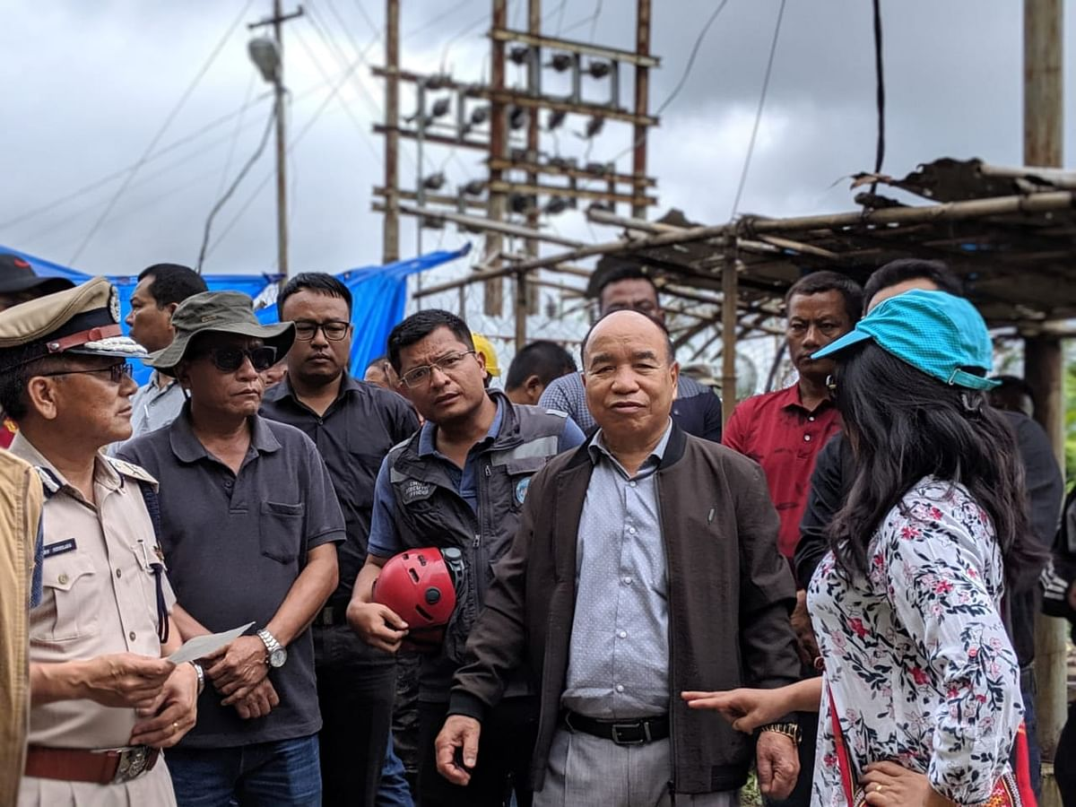 Mizoram chief minister Zoramthanga inspects the site of building collapse at Durtlang near Aizawl on Wednesday morning