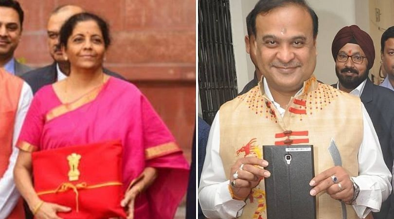Finance minister Nirmala Sitharaman carrying the Budget in a 'bahi-khata' to Parliament while  Assam FM Himanta Biswa Sarma presented the first digitised budget in the state on March 12 last year