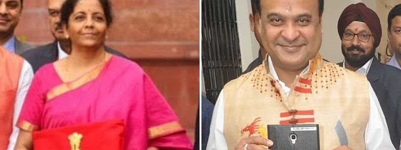 Union finance minister Nirmala Sitharaman carrying the Budget in a 'bahi-khata' to Parliament on Friday; Assam finance minister Himanta Biswa Sarma presented the first digitised budget in the state on March 12 last year