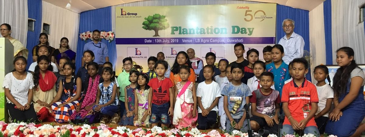 Organisers with meritorious students who were honoured during the occasion to mark the 50th anniversary of LB Group in Guwahati, Assam on Saturday