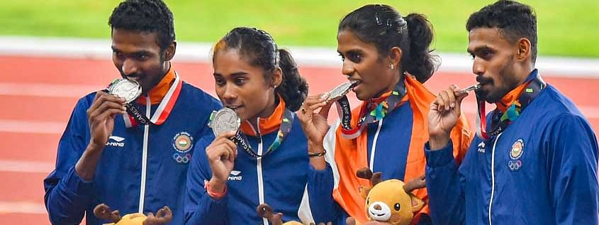 India's mixed relay race team that had won a silver medal at Asian Games 2018 in Jakarta, Indonesia was made of Hima Das, Mohammad Anas, M R Poovamma and Arokia Rajiv