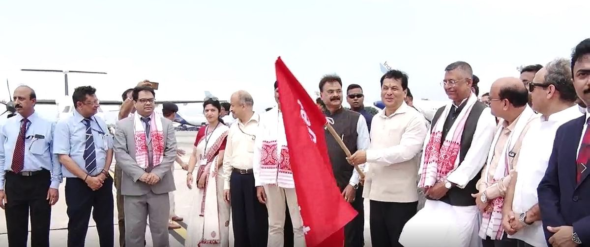 Assam CM Sarbananda Sonowal along with senior ministers of the state flagging off the Guwahti-Dhaka maiden flight on Monday