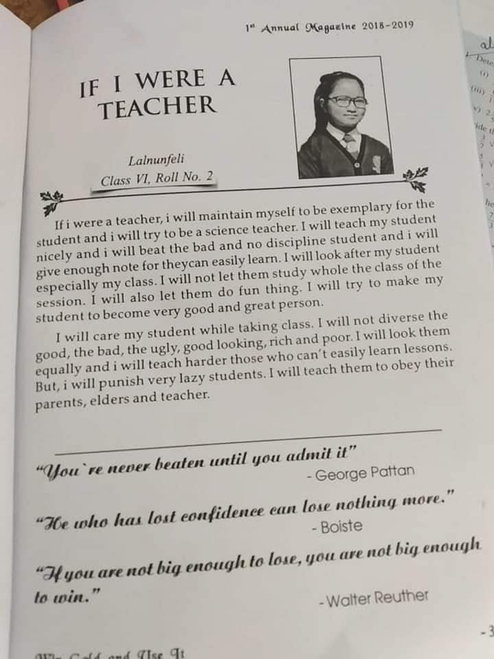 Lalnunfeli wrote in her school's annual magazine that she wanted to be a science teacher