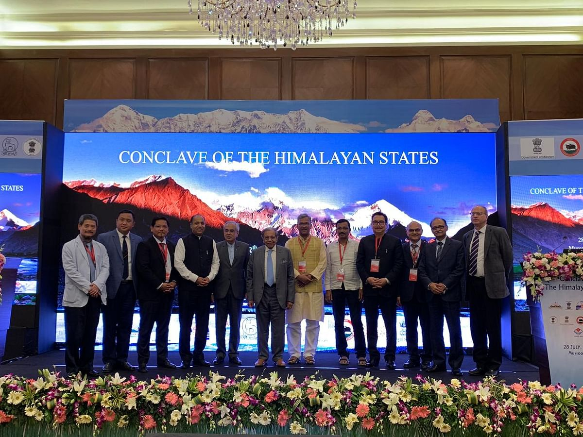 Chief ministers and representatives of states taking part in the first 'Conclave of the Himalayan States' in Mussoorie, Uttarakhand on Sunday