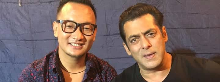 Thupten Tsering (left), a differently-abled singer from Arunachal Pradesh, with Bollywood actor Salman Khan