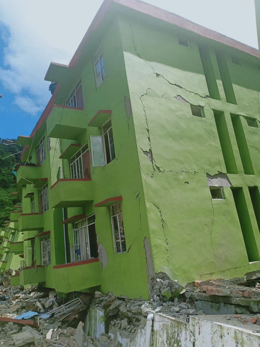 The whole ground floor of this building disappeared in the landslide on Tuesday evening
