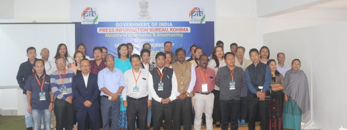Media persons with department officials during the one-day media workshop in Kohima, Nagaland