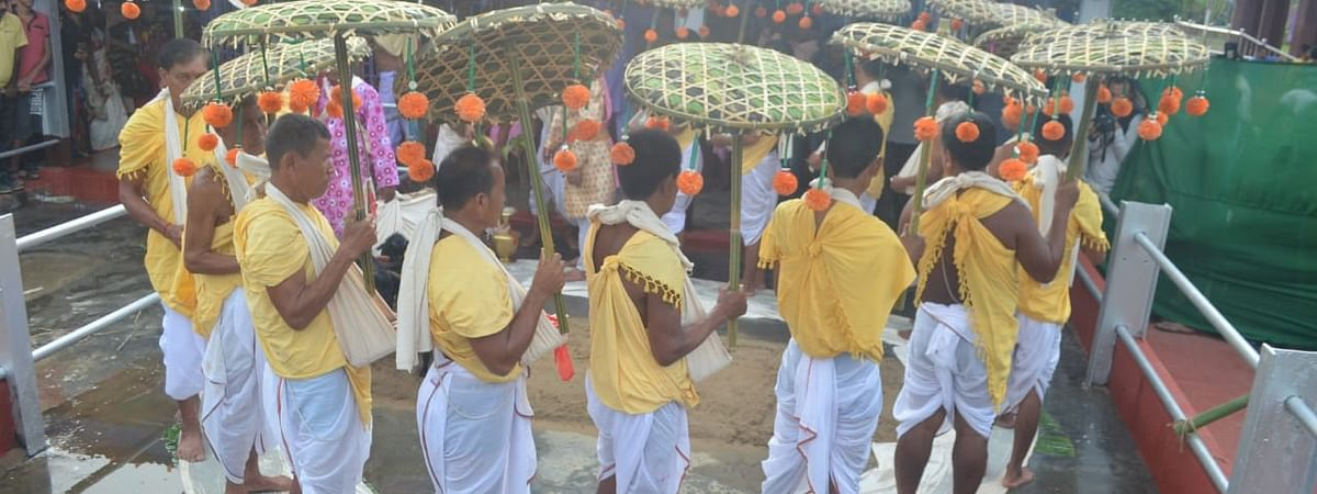 Fourteen priests performing the rituals before the Kharchi Puja festival began on Wednesday