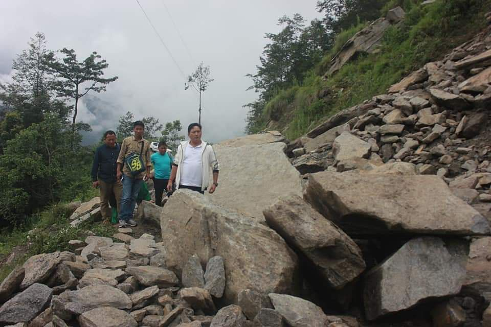 Glimpse of a landslide that took place in West Sikkim
