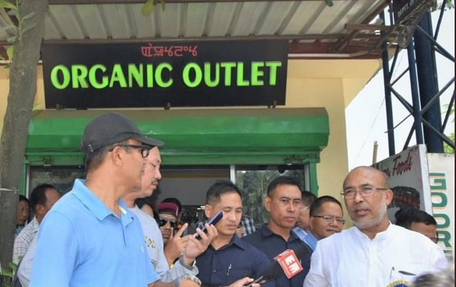 Manipur chief minister N Biren Singh inspecting the Manipur Organic Outlet in Imphal