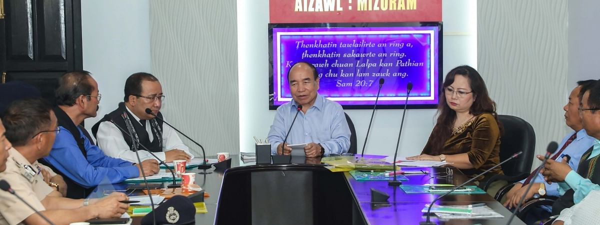 Mizoram CM Zoramthanga at an annual crime review meeting of DIG (Northern Range) in Aizawl