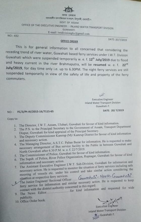 Copy of the order issued by the Inland Water Transport division, Guwahati in Kamrup district of Assam