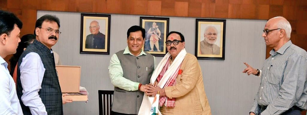 Union minister for skill development and entrepreneurship Mahendra Nath Pandey called on Assam chief minister Sarbananda Sonowal in Guwahati on Sunday