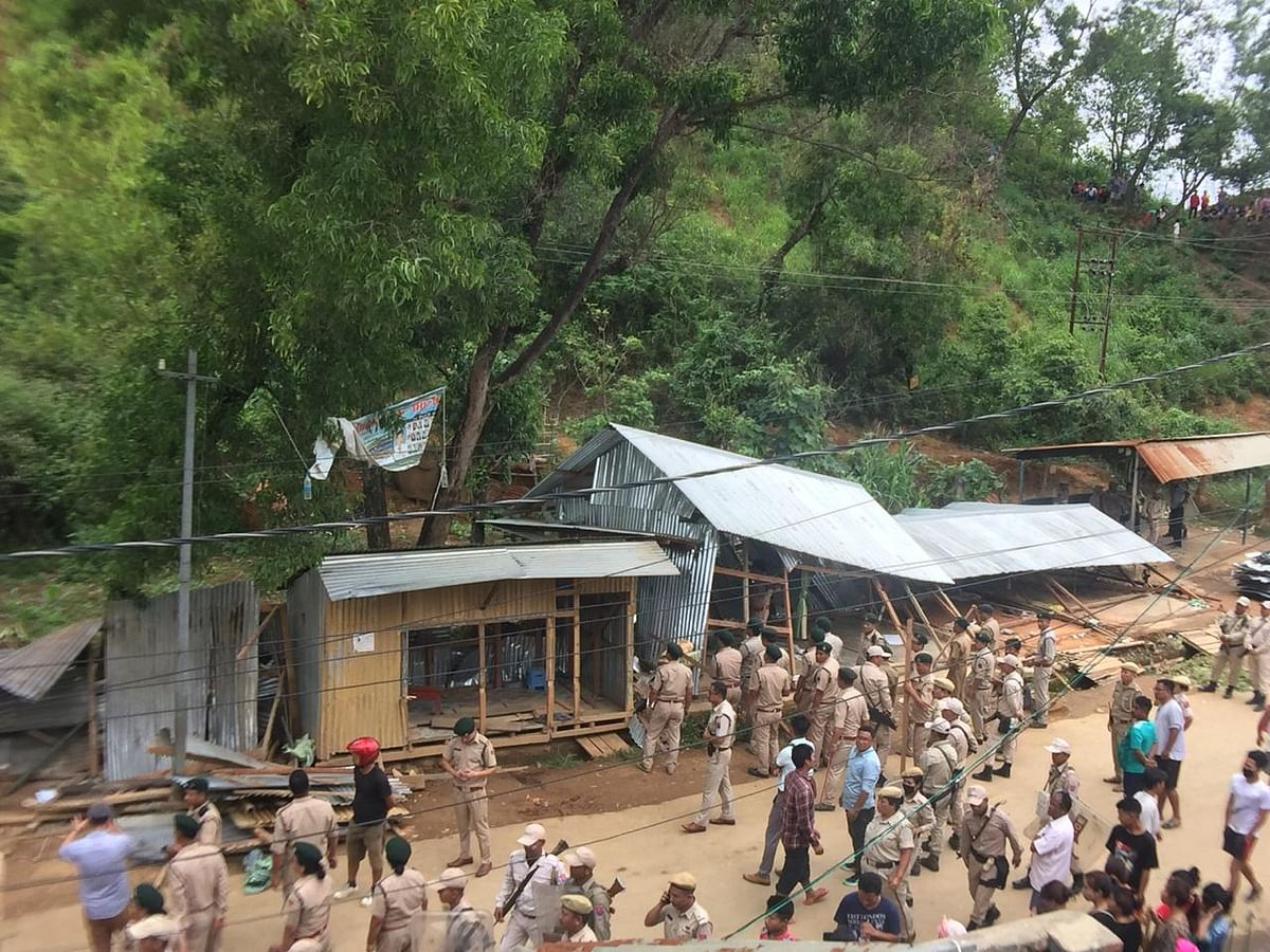 Eviction drive being carried out at Guigailong under Tarung village in Imphal West