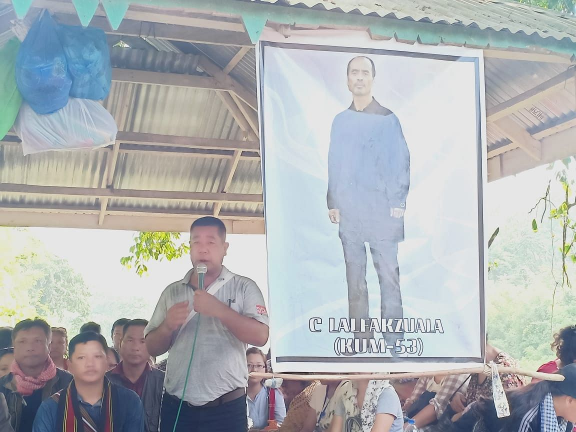 Central YMA vice-president R Lalngheta speaking at a function to mark the end of the customary search for drowning victim C Lalfakzuala in Sairang, Mizoram