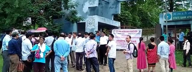 Assam University Diphu campus' entrance gate was locked down by the students' union of the college
