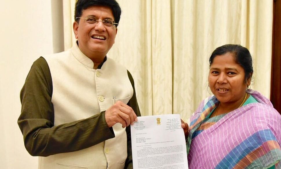 Tripura MP meets rly minister Piyush Goyal, submits memo