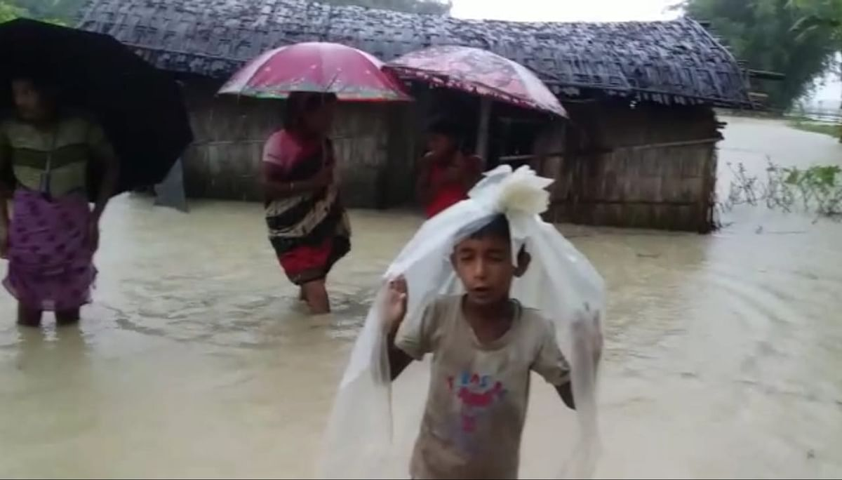 At least five villages have been submerged by flood waters of Aie river in Assam's Chirang district
