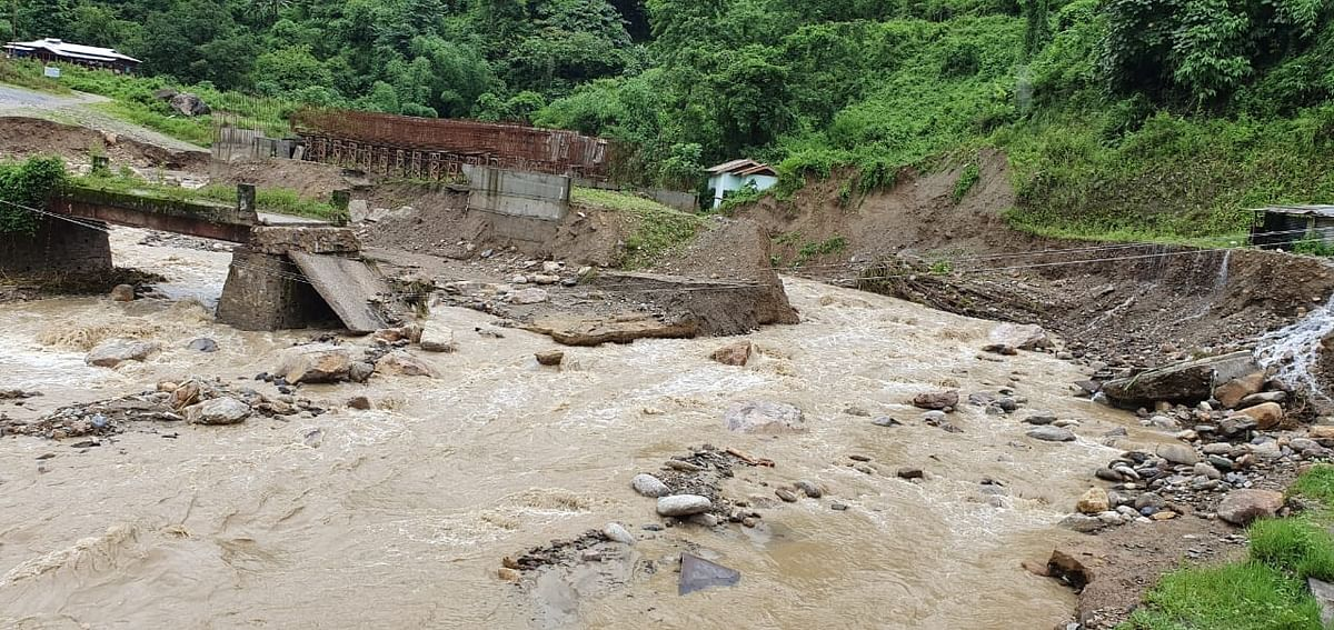 A lone bridge connecting Kadeya village with the rest of Arunachal Pradesh's East Kameng district has been washed away completely