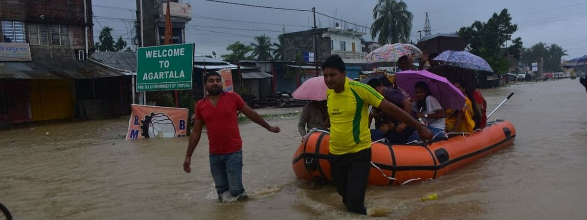 Over 2,800 flood-hit locals were shifted to 20 relief camps set up in Sadar in West Tripura district till Sunday evening