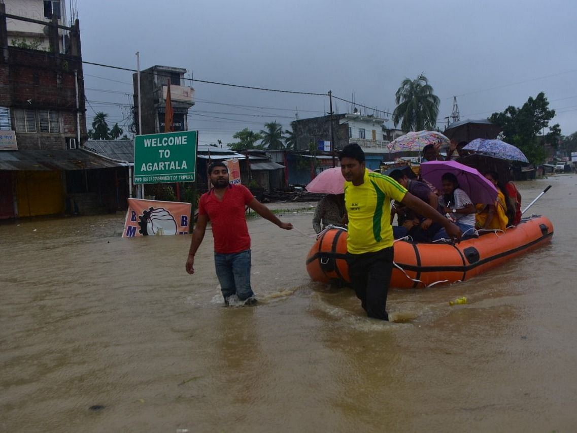 2 killed, 6 injured as floods hit all 8 districts of Tripura