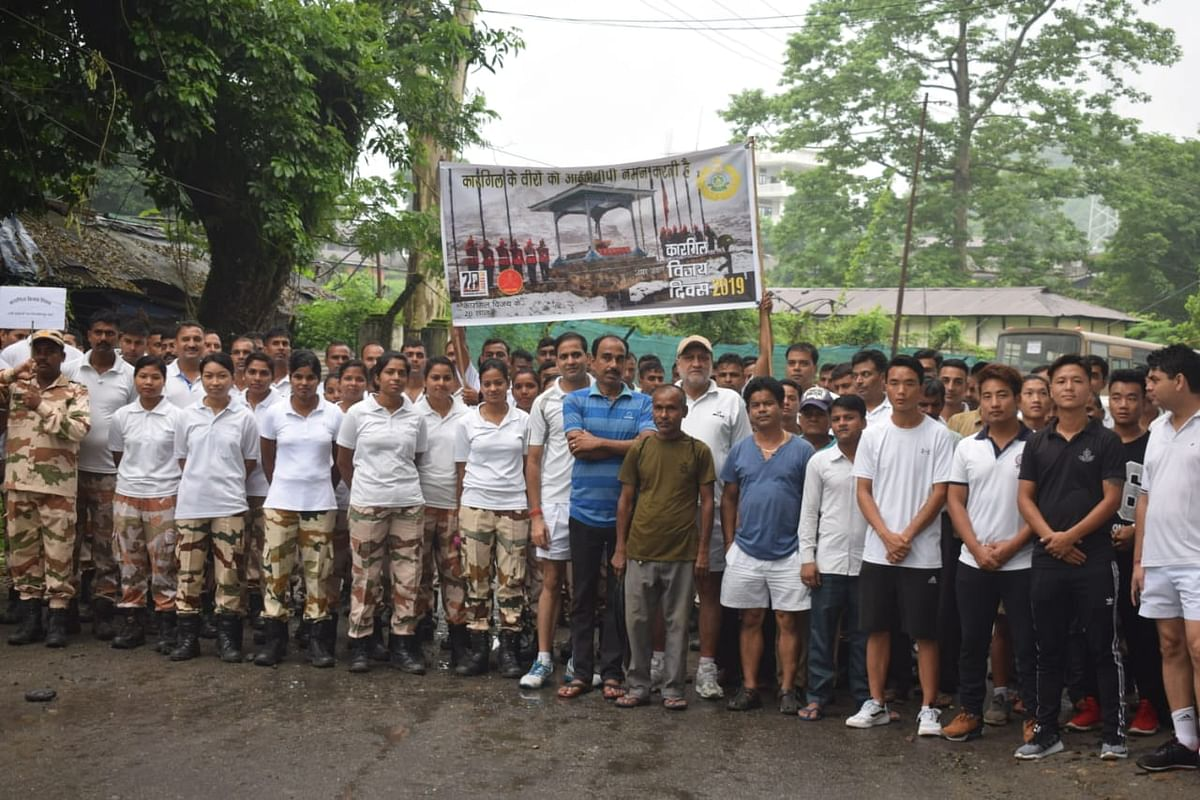 ITBP personnel and local residents participating in the 'Run for Martyrs' event in Arunachal Pradesh