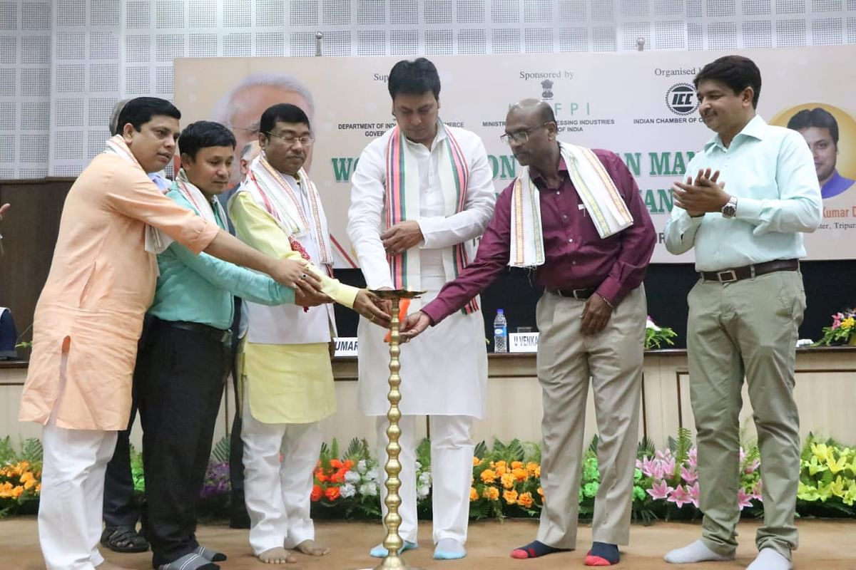 Tripura chief minister Biplab Kumar Deb (middle) with Union minister of state for food processing industries Rameshwar Teli (third from left) inaugurating a workshop on 'Pradhan Mantri Kishan Sampada Yojna' in Agartala on Saturday