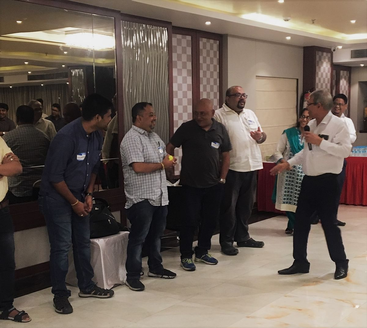 Participants take part in an energising game at LinkedIn Local, Guwahati