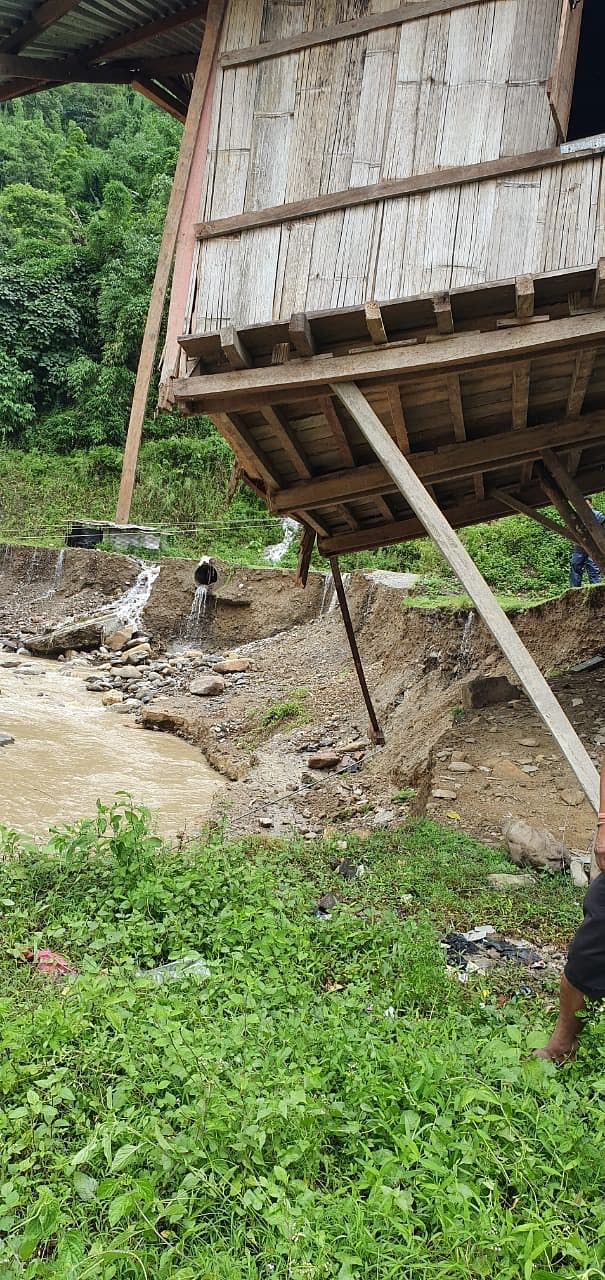 Many houses, granaries, agriculture land, piggeries and other properties in Kadeya village of Arunachal Pradesh's East Kameng district have been damaged and washed away by flash floods