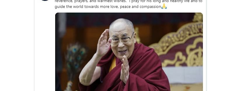 Union minister of state for youth affairs and sports Kiren Rijiju took to Twitter to pray for the Dalai Lama's long and healthy life