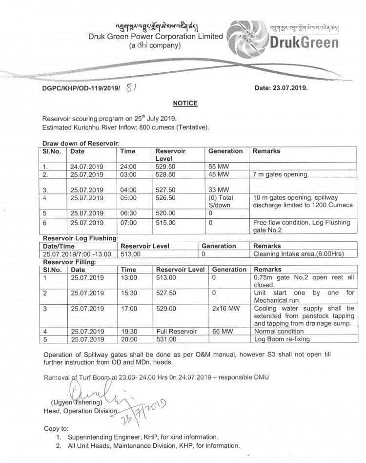 Copy of document issued by Druk Green Power Corporation Limited