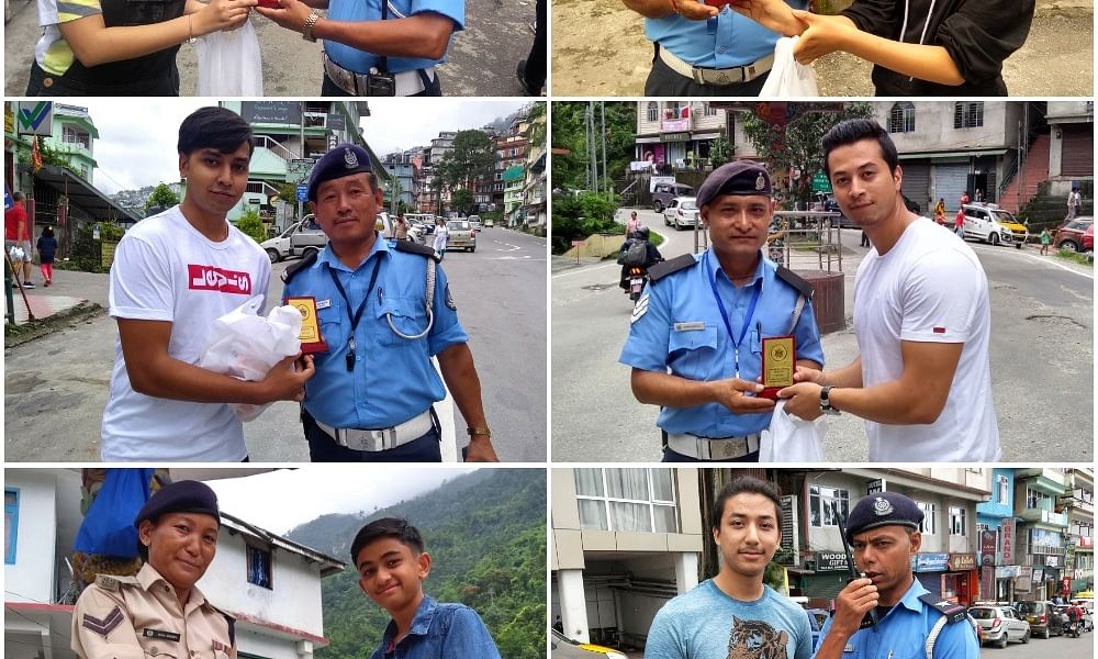 Humans of Sikkim: Youths offer memento,  lunch to traffic cops
