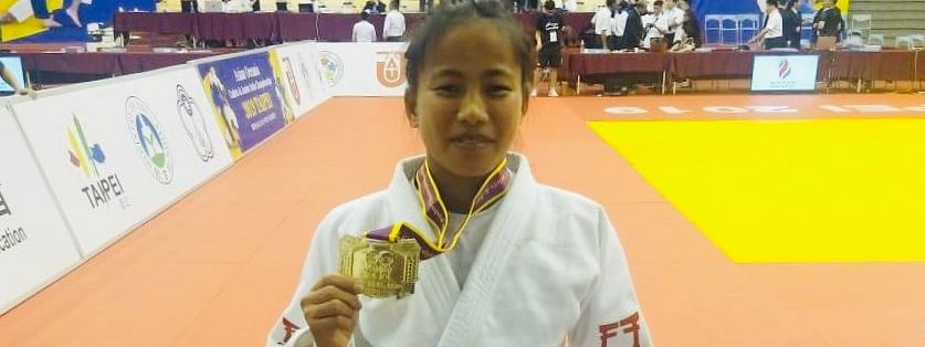 Manipur judoka Thangjam Tababi Devi with her gold medal at Asian Oceania Cadets & Junior Judo Championships 2019 in Taipei, Taiwan