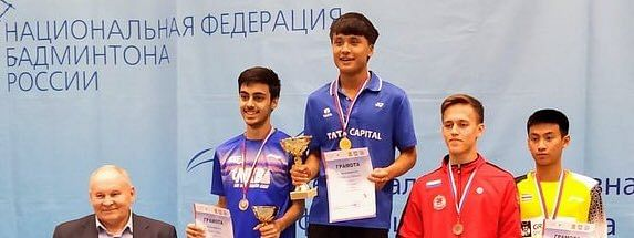 Shuttler Maisnam Meiraba Luwang after winning the U-19 singles title at White Night Russian Junior International Badminton at St Petersburg, Russia on Sunday night