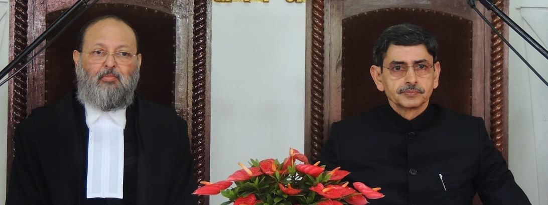 RN Ravi (right), the interlocutor for Naga peace talks, being administered the oath of office as the new governor of Nagaland by Chief Justice (Acting), Gauhati High Court, Arup Kumar Goswami