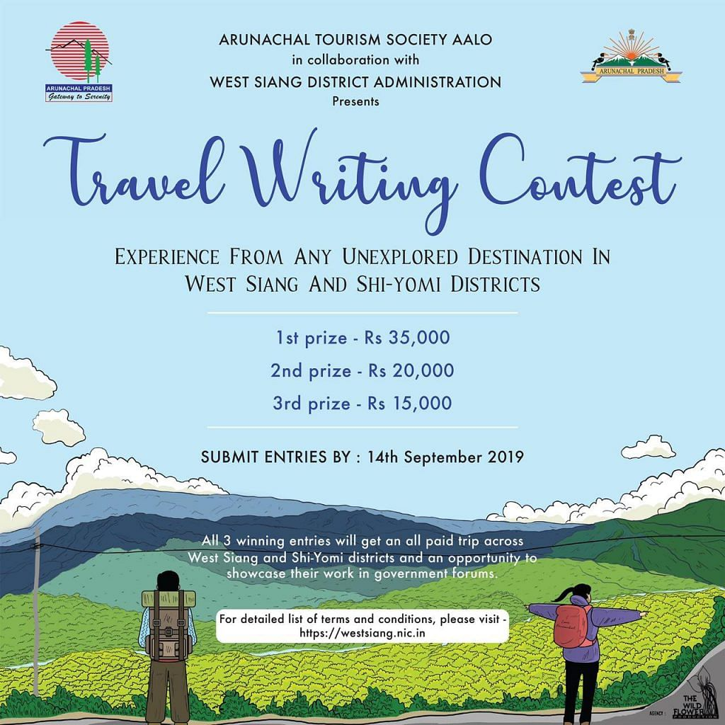 The Arunachal Tourism Society Aalo in collaboration with West Siang district administration has launched a travel writing contest