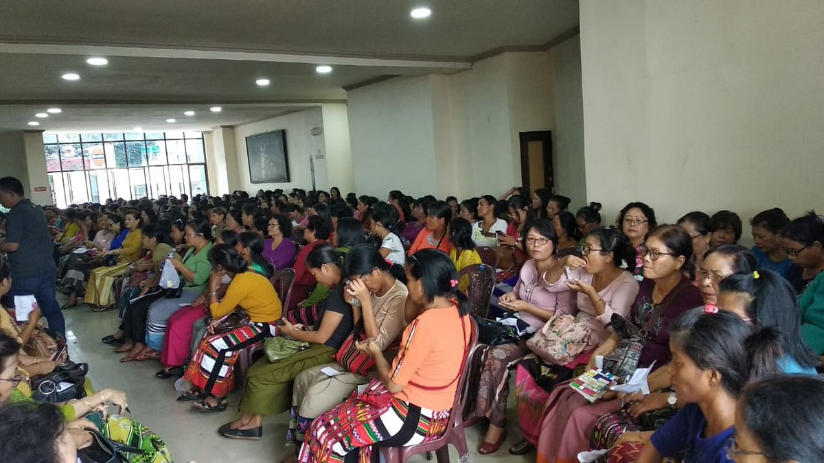 Mizo women at Vanapa Hall in Aizawl to elect their organisation's leaders