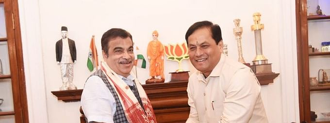 Assam chief minister Sarbananda Sonowal at a meeting with Union minister for road transport and highways Nitin Gadkari in New Delhi on Tuesday