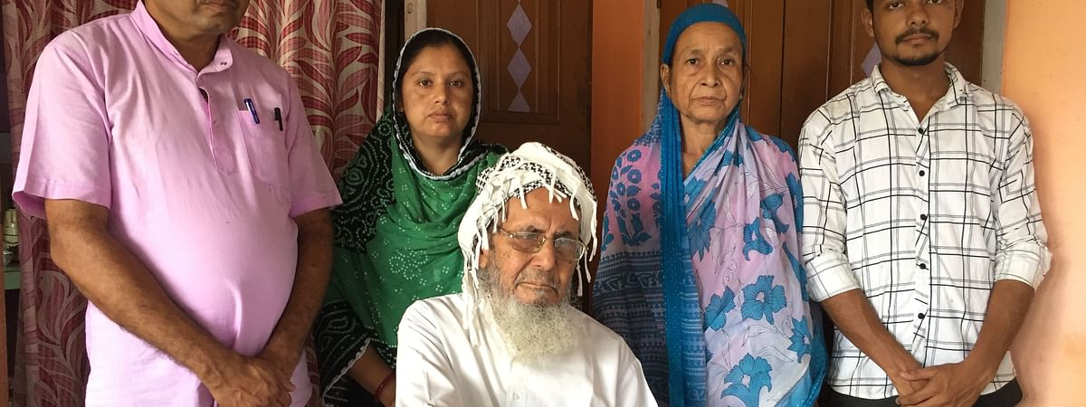 Some of the family members of Kutubuddin Ahmed (sitting) in Nalbari district of Assam are struggling prove their nationality after their legacy data was 'stolen'