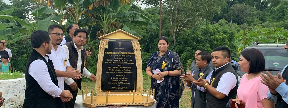 Union minister of textiles Smriti Irani with Meghalaya chief minister Conrad K Sangma during the foundation stone laying ceremony of Integrated Textiles Tourism Complex at Nongpoh in Ri Bhoi district