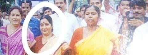 Former foreign minister Sushma Swaraj (circled) was in Tripura to lead a protest rally along with then BJP Mahila Morcha national president Kiran Maheshwari (left) and Tripura West MP Pratima Bhowmik (right)