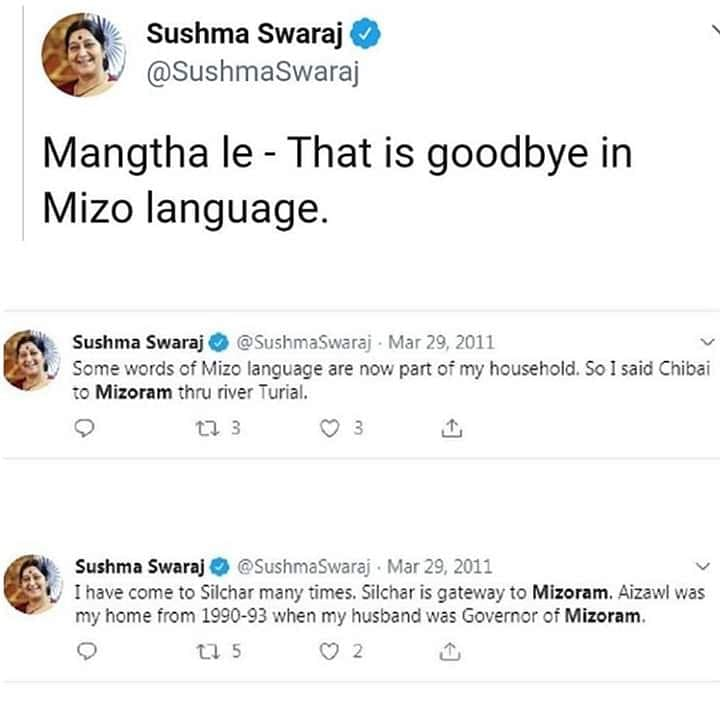 Some of the tweets posted by former foreign minister Sushma Swaraj about Mizoram