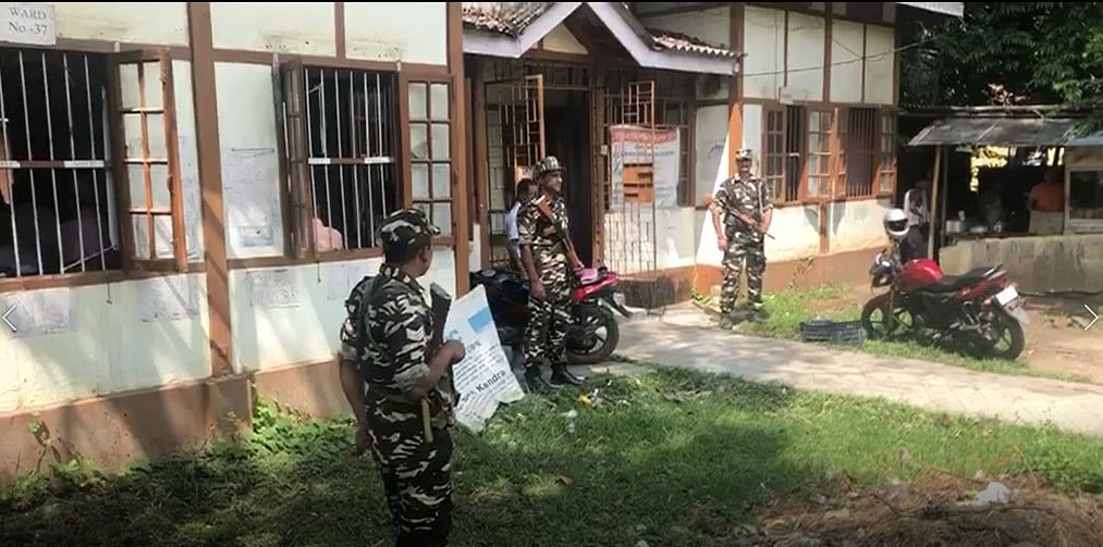 CRPF personnel deployed in front of an NSK in Assam ahead of the final NRC publication, on Friday