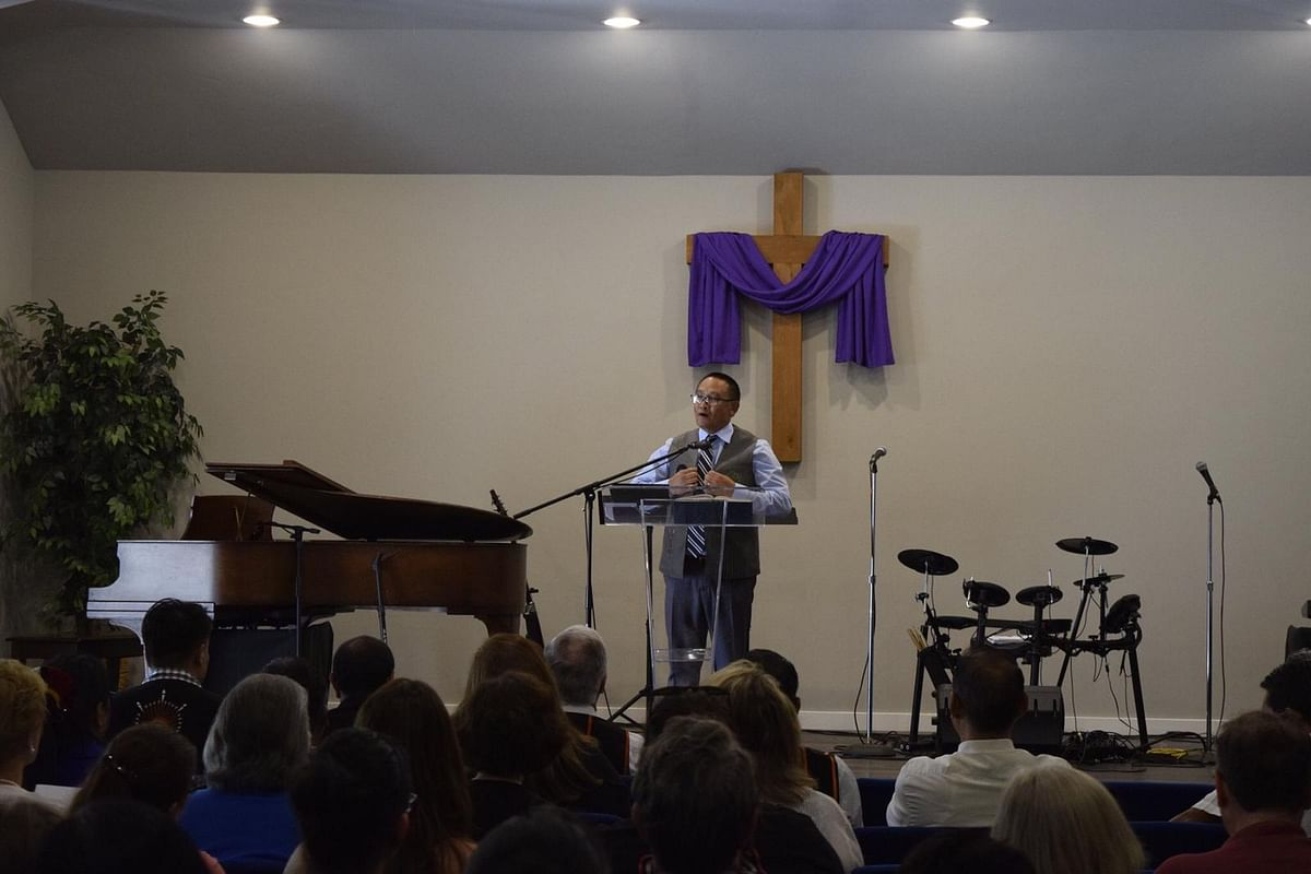 Dr Zelhou Keyho, general secretary of the Nagaland Baptist Church Council (NBCC), addressing the congregation at the inauguration of First Naga Baptist Church at Dallas Fort Worth (DFW), Texas, USA