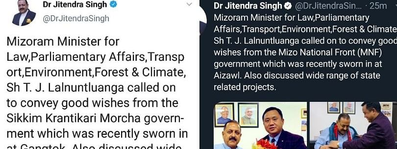DoNER minister Jitendra Singh's tweet on Friday; it was later deleted. (Right) Singh's new post on Saturday with the corrections