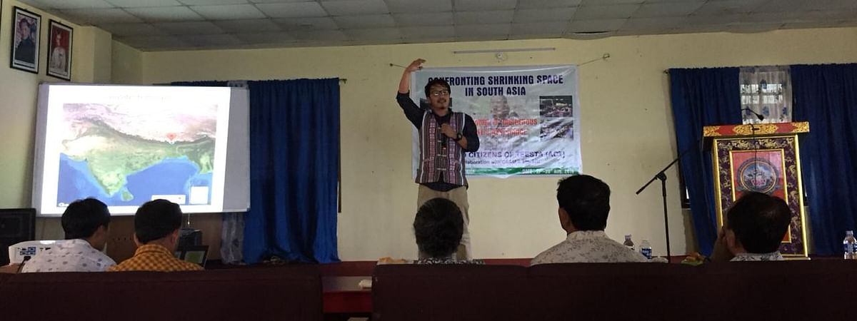 Gyatso Lepcha, general secretary of Affected Citizens of Teesta, addressing the workshop in Gangtok