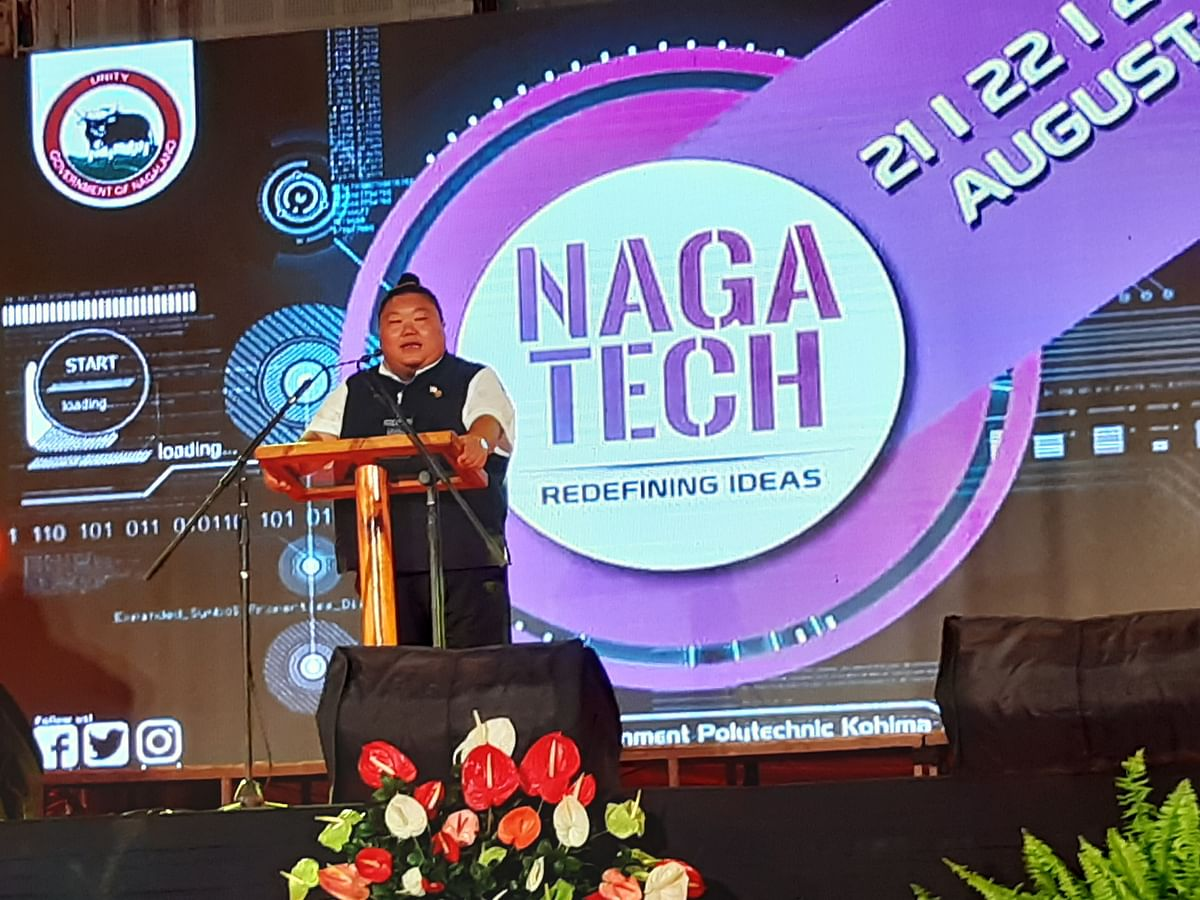 Nagaland higher education & technical education minister Temjen Imna Along addressing the gathering in Kohima on Wednesday
