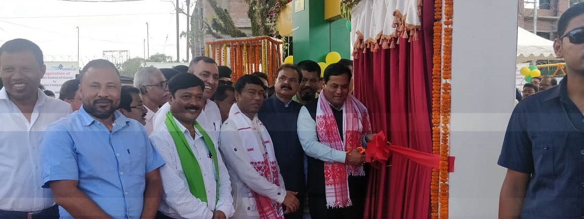 Assam CM Sarbananda Sonowal inaugurating the state's first CNG station in Dibrugarh on Saturday