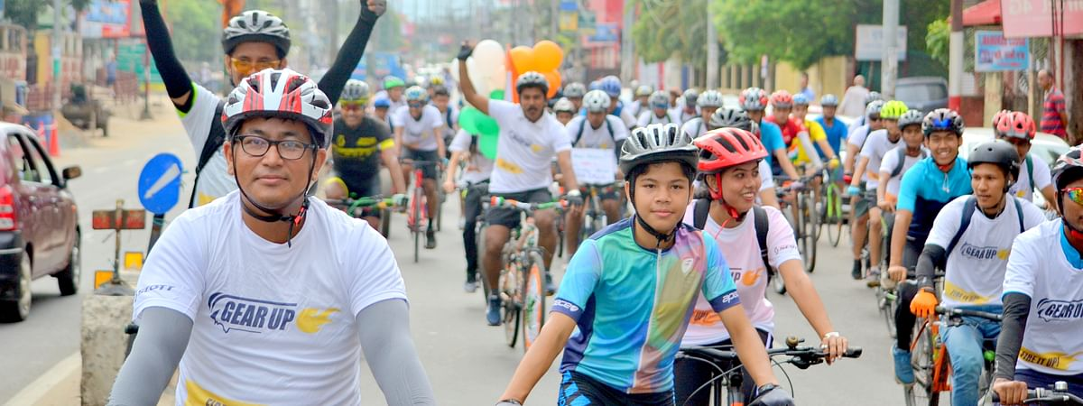Cyclists riding together to mark 73rd Independence Day in Guwahati, Assam on Thursday