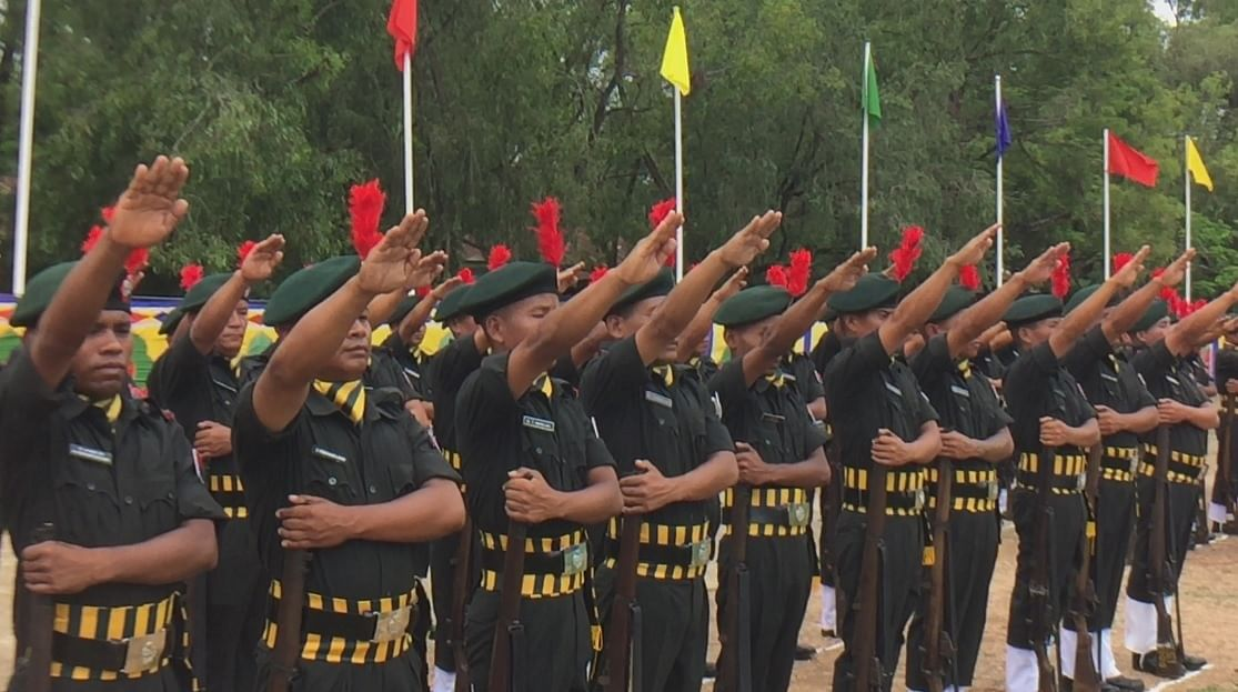 Personnel taking oath during the 'passing out parade' at MPTC, Pangei